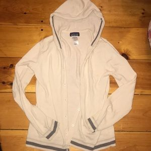 Cream with grey hooded sweater